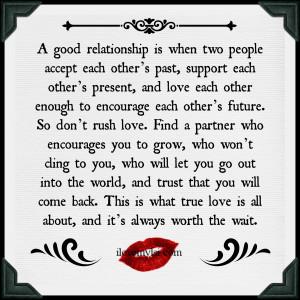 good relationship.