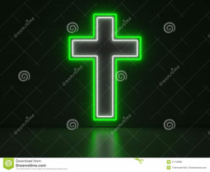green and white Neon Sign in Form of a Christian Cross on a Wall of ...