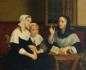 Reading the Bible (c.1859). Hugues Merle (French, 1823-1881). Oil on ...