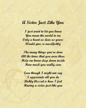 Love My Sister Quotes And Poems Sister love poem 8 x 10 print