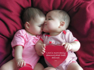 Cute Love Picture Kissing Twin