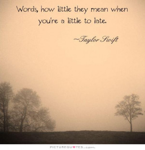 ... how little they mean when your're a little too late Picture Quote #1