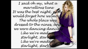 Taylor Swift Love Quotes From Songs Lyrics to starlight by taylor