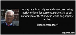 At any rate, I can only see such a success having positive effects for ...