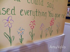 ... hallway where my bedrooms are, I painted the definition of family