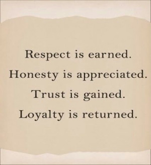 Respect - Honesty - Trust - Loyalty