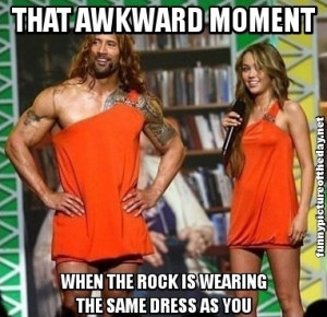 That Awkward Moment Funny The Rock Wearing Miley Cyrus Dress