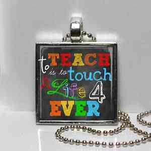 ... Plated TEACHER Chalkboard quote APPRECIATION CHRISTMAS Gift Necklace