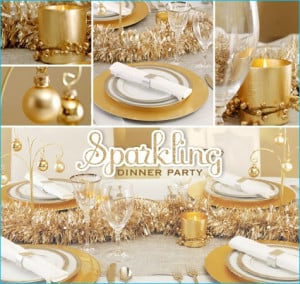 Gorgeous gold centerpiece and table setting party ideas. is creative ...