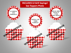 BBQ Red Gingham Cupcake Toppers - BBQ sayings - Cook Out - Picnic ...