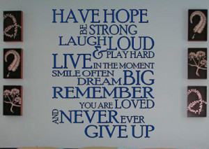 have hope inspirational wall quote decal sticker large vinyl wall ...