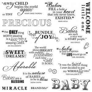 Fiskars - Clear Acrylic Stamps - 8 x 8 - Precious Baby Quotes