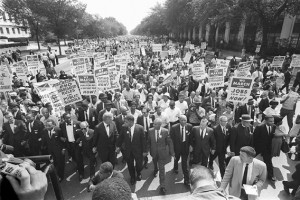 Martin Luther King Jr. and other civil rights leaders march on August ...