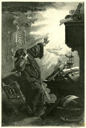 Franz Simm, Goethes Faust, Nacht. Der Geist erscheint in der Flamme ...
