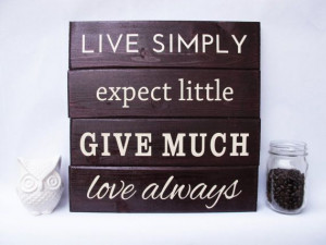 Live Simply Wall Art Wood Sign Sayings by ElegantSigns on Etsy, $39.99