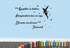 Tinkerbell 'Laughter, Imagination, Dreams' Peter Pan Disney Quote Wall ...