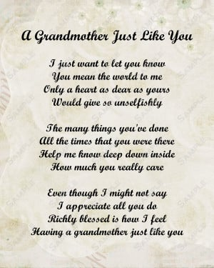 Love Grandma Poems Grandmother poem love poem