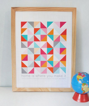 Inspirational quote print with geometric quilt by AlmostSundayInc, $25 ...