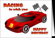 Happy 3rd Birthday - Race Car card - Product #1089180