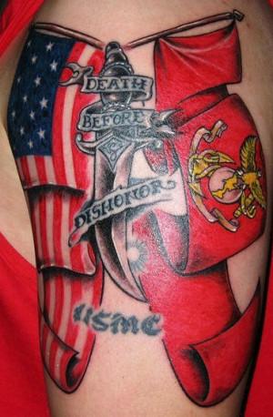 ... patriotic marine corps tattoo with american flag usmc flag marine