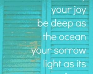 ... Inspirational Quote Art Print - Beach Cottage Home Decor - Ocean Joy