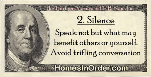 ... but what may benefit others or yourself. Avoid trifling conversation