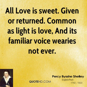 All Love is sweet. Given or returned. Common as light is love, And its ...
