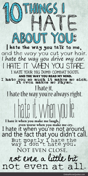 Sweet poem from the 1999 coming of age movie 10 Things I Hate About ...