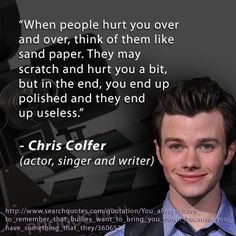 Glee offers words of encouragement. Show your dedication to bullying ...