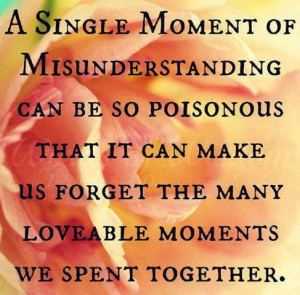single moment of misunderstanding can be so poisonous, That it can ...
