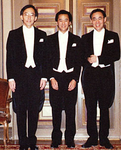 Steven Chu, left, with younger brother Morgan Chu, middle, and older ...