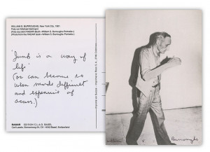 William S. Burroughs Autographed Postcard with Handwritten Junky Quote