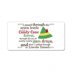 ... Gifts > Adorable Auto > Candy Cane Forest Quote Aluminum License Plate