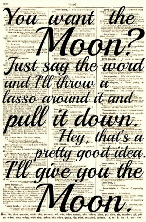 Lasso the Moon, It's a Wonderful Life Quote, Dictionary Print, Buy 2 ...