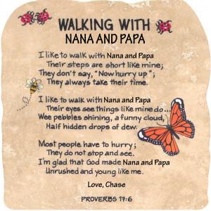 Nana Poems Walking with nana and papa