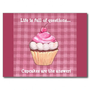 Cute Pink Gingham Cupcake Quote Postcard Post Cards