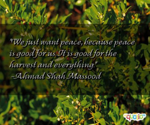 We just want peace, because peace is good for us. It is good for the ...