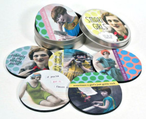 Smart Girls coaster set Vintage Gals SASSY sayings by CommonRebels, $ ...