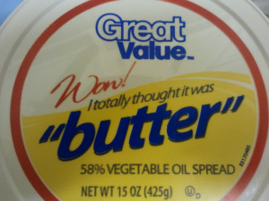 "The scare quotes make this one. ""You thought it was fake butter? You ..."