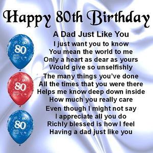 Personalised Coaster - Dad Poem - 80th Birthday + FREE GIFT BOX