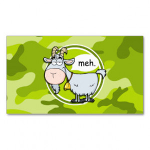 Funny Goat; bright green camo, camouflage Business Card Templates