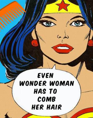Wonder Woman, Girls Bathroom Decor, Comb your Hair,