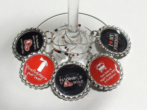 ... Black Firefighter Themed Wine Glass Charms Set of 5, Fireman's Wife