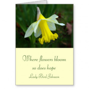 Card with Quote - Yellow Daffodil Flower