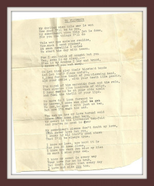 More Poetry From WWII - A soldier's letters to his wife