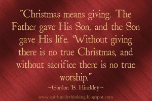 Christmas, Giving & Sacrifice