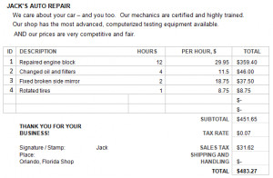 auto repair invoice get best quality auto repair forms from169