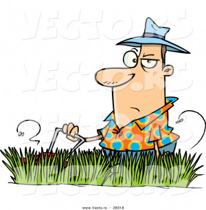 Vector Grumpy Cartoon Man Mowing Lawn With Tall Grass Ron