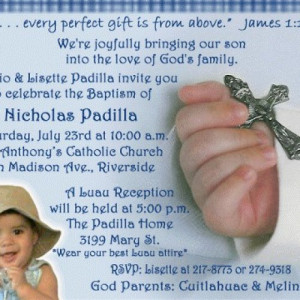 Baby Boy Cross in Hand Baptism Christening Invitation Announcement ...