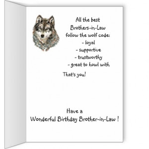 Happy Birthday Brother-in-Law Humor Wolf, Wolves Greeting Card ...